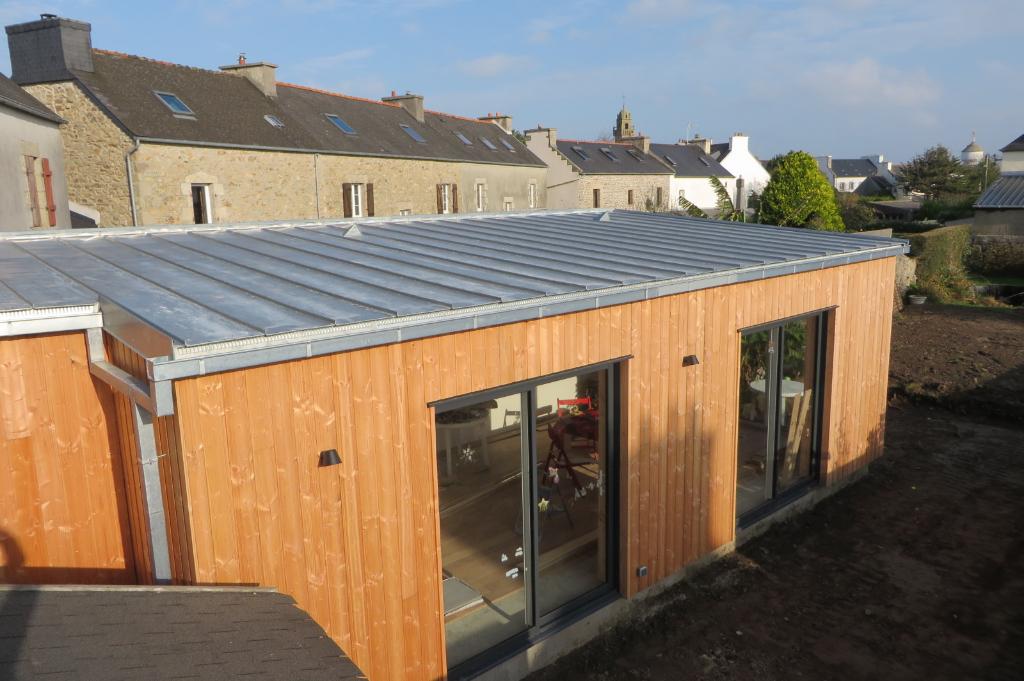 Extension bois Finistère couverture en zinc naturel