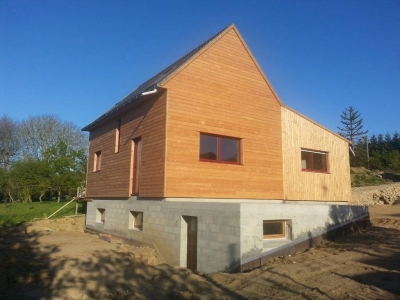 Maison bois finistère bardage horizontal et vertical