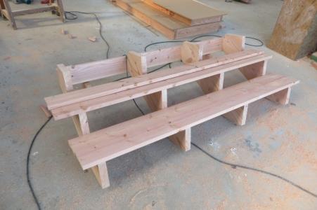 Fabrication de l'escalier bois exterieur à l'atelier