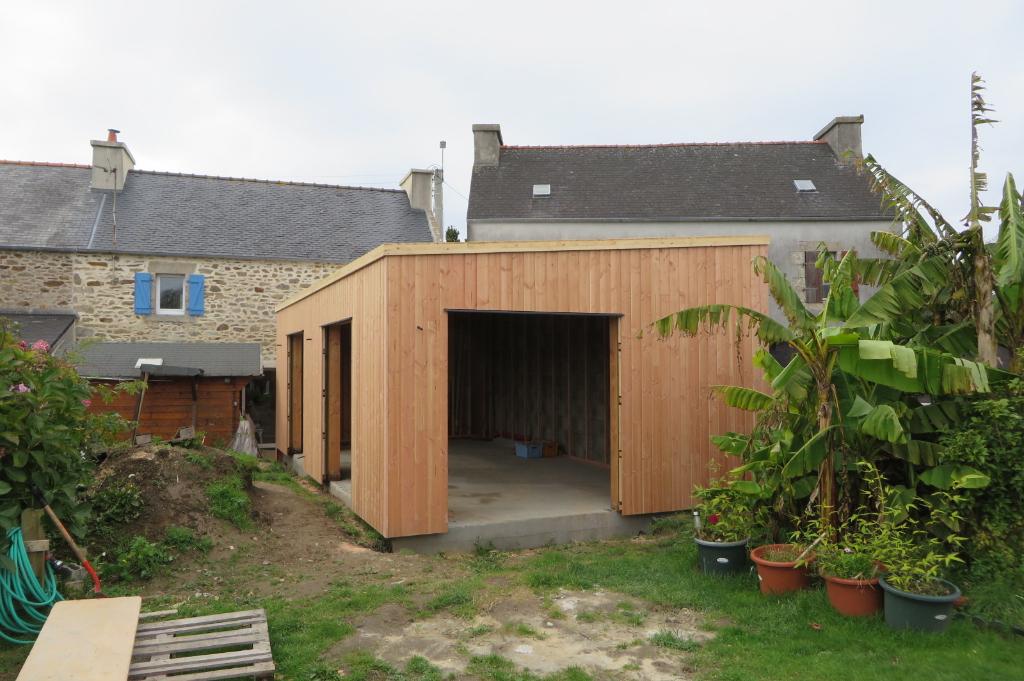 Extension bois Finistère bardage douglas posé d'aplomb