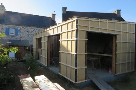Extension bois Finistère ossature 145/45 + fibre de bois 35mm + contre liteaux
